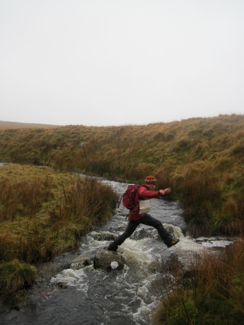 Marcus crossing Afon Twrch on The Black Mountain.