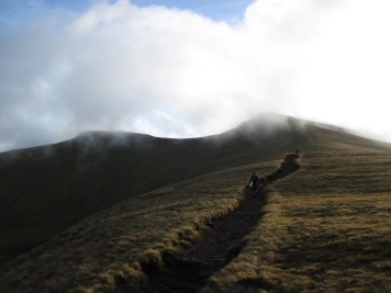 The mountains looked very pretty when the cloud cleared enough to see the summits of Pen y Fan and Corn Du.