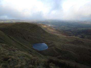 The view back to Llyn Cwm Llwch and Cwm Llwch from the side of Corn Du.