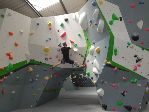 Me climbing at the Stronghold Climbing Centre.