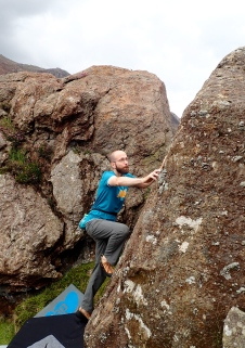Me climbing the problem Willy Wonka (3b) in the Wavelength Utopia area of the Llanberis Pass.