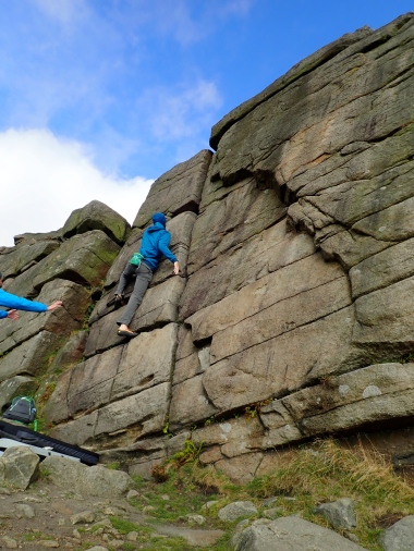 Me climbing Cranberry Wall (VB) on The Chant section of Burbage North
