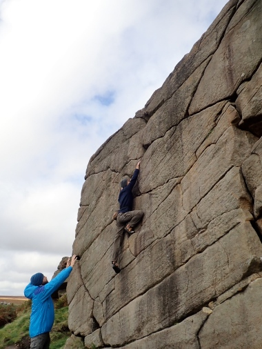 Leo climbing Route 2 (VB 4a) on The Chant section of Burbage North.