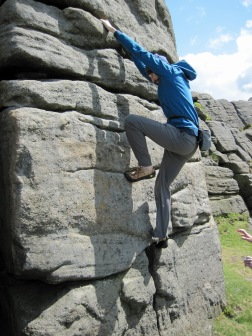 Climbing Eeny (VB 4a) at Stanage Far Right.