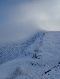 An icy Corn Du in the Brecon Beacons.