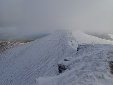 There was a great view of Pen y Fan from the summit of Corn Du. It lasts for another two minutes after this before the cloud (and a snow flurry) came down.