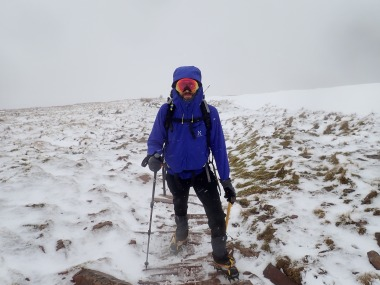 Me enjoying the snow, ice and trying out my new ski goggles on the way up Cribyn.