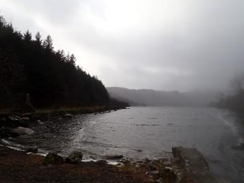 The rain coming down on Llyn Crafnant.
