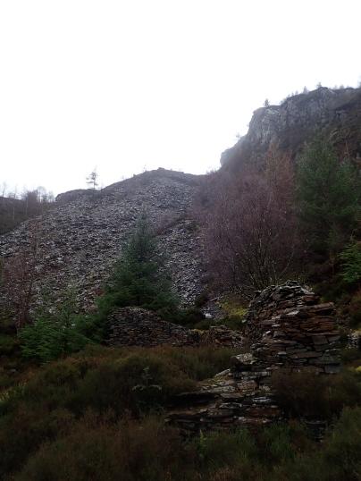 A disused slate quarry near Mynydd Delyn.