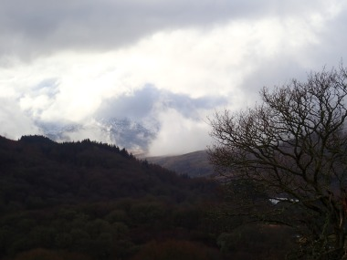 A little bit of the Snowdon massif suddenly appearing through the clouds.