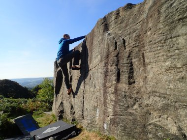 My first outdoor climb in a year - Bore-hole Wall (V0 4b) at Curbar Field.
