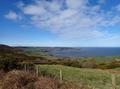 The beautiful view of Robin Hood's Bay from Ravenscar.