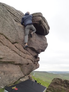 Me climbing Snout Groove at Stanage Far Right.