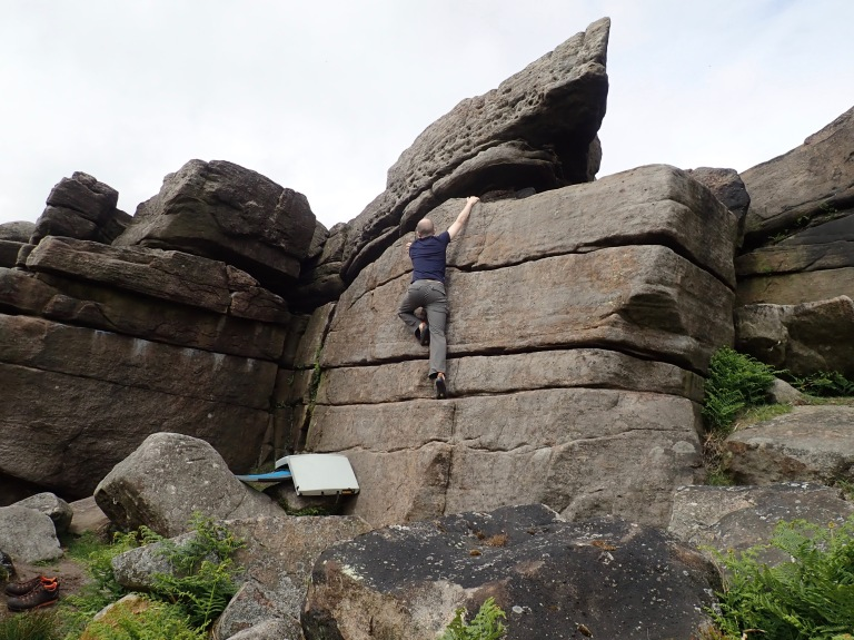 Me climbing the problem Steps at Stanage Far Right.