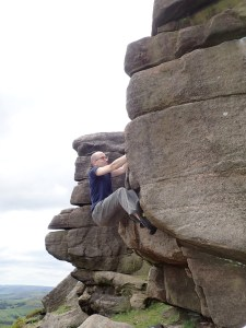 Me climbing Front Flake at Stanage Far Right.