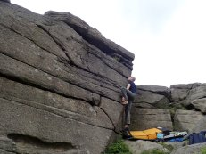 Climbing Pert Bloke at Stanage Far Right