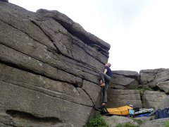 Climbing Pert Bloke at Stanage Far Right