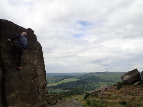 Climbing Ledge Wall at Curbar Edge.
