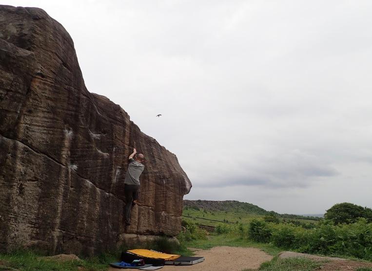 Climbing Track Crack at Curbar Fields