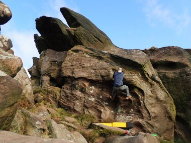 On Mounty (V0- 4b) in The Attic area of The Roaches.