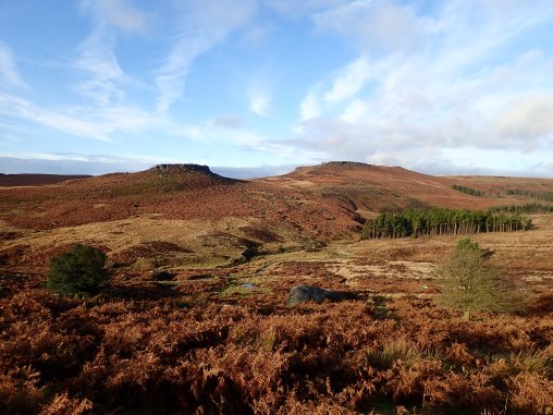 The Burbage Valley, with Carl Wark and Higgar Tor in the distance. The Kidney boulder is in the middle distance.