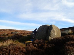 Climbing on the That Little Piglet boulder at Burbage South Valley.