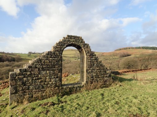 The ruins of the Holy Trinity Chapel on the North Lees estate to the north of Hathersage.