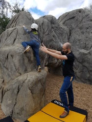 Leo climbing up The Arches boulder at Fairlop Waters Boulder Park. Copyright: Valerie Van den Hende.