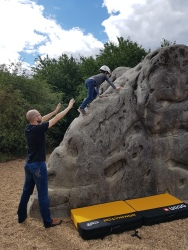 Leo climbing The Trunk Route on the Dumbo the Elephant boulder at Fairlop Waters Boulder Park. Copyright: Valerie Van den Hende