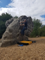 Me climbing on the Dumbo the Elephant boulder at Fairlop Waters Boulder Park. Copyright: Valerie Van den Hende